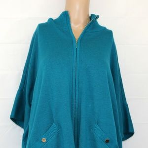WHBM sz s/m Zip Front Cardigan Sweater Teal